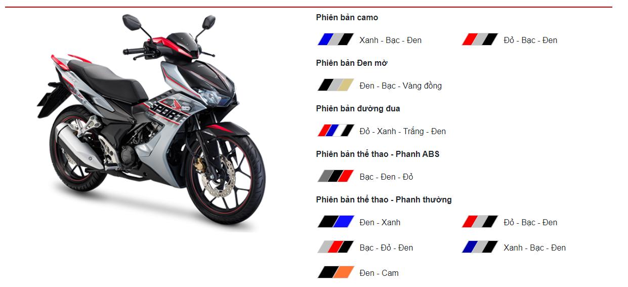 Honda Winner X với 5 phiên bản và 10 màu cụ thể