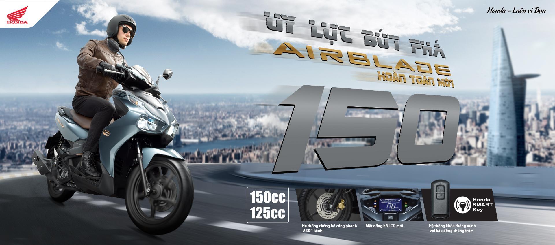 Air Blade mới có 2 phiên bản động cơ 125 phân khối và 150 phân khối